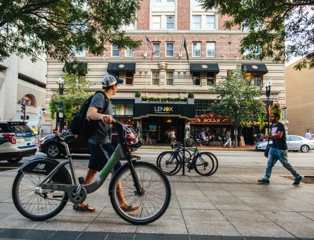 Biker outside Lenox Hotel